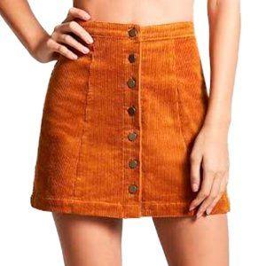 FOREVER 21 Corduroy Button-Up Mustard Mini Skirt